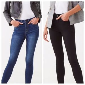 3 PAIR high waisted skinny jeans blue black F21 26